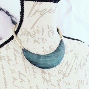 Teal Metal Collar Necklace Gold Tone State…